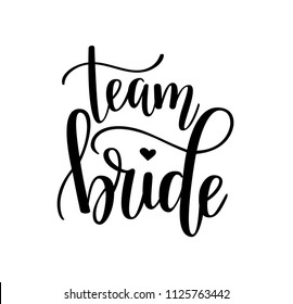 Team bride calligraphy lettering vector hen party, bachelorette wedding design