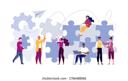 Team building concept. Business team metaphor. Business partners or company employees work together on a project. Young people put together puzzle pieces. Illustration.Vector. Flat. Cartoon.