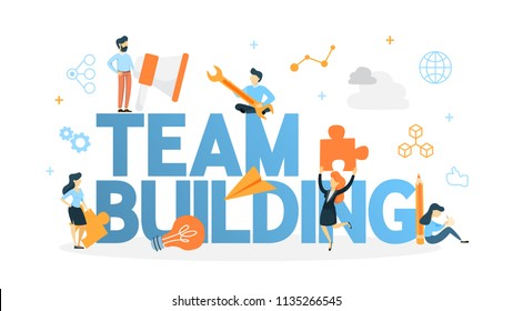 Team building concept. Group of people gather and work together to get good business results. Idea of communication and cooperation. Isolated flat vector illustration