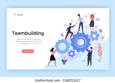 Team building concept illustration, perfect for web design, banner, mobile app, landing page, vector flat design