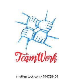 Team building concept. Stack of business hands. Cooperation Teamwork, Group, Partnership,Team buidding. Hand drawn line art cartoon vector illustration