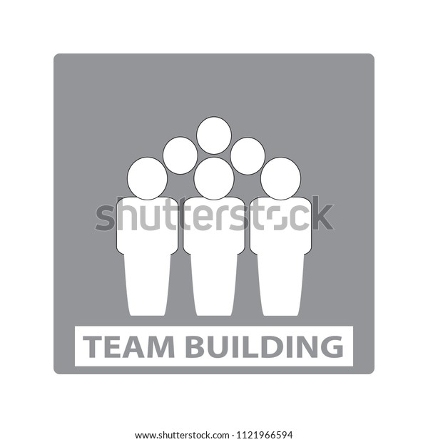 Team building simple illustration with group of people silhouettes icon