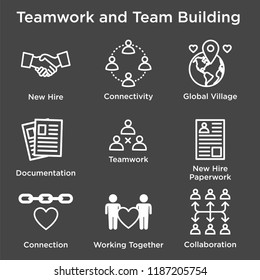 Team Building, Teamwork, and Connectivity Icon Set w Stick Figures & Intersections