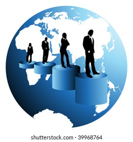 team of business people on business background