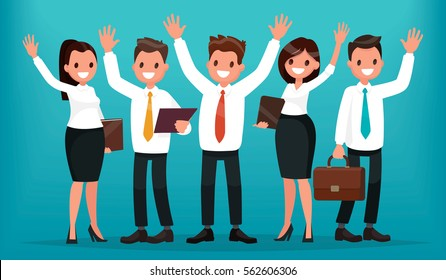 Team of business people with their hands up. Successful group of office workers. Vector illustration in a flat style