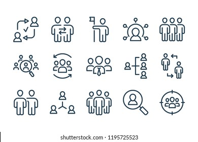Team and business teamwork line icons. Vector linewar icon set.