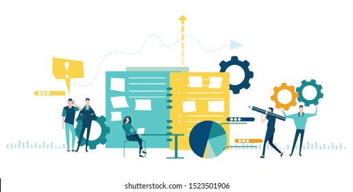 Team of Business working in office. Global business, logistics, developing and support concept illustration