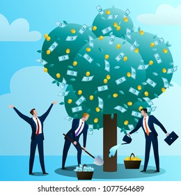 The team of businessmans grows up and look after a monetary tree, waters, drips and rejoices. The person invests in the business. Successful start-up. Concept, flat design vector illustration clip art