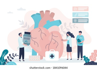 Team of cardiologists examines heart for disease. Group of doctors treats heart with different pills. Cardiovascular system checkup. Concept of cardiology and treatment. Flat vector illustration