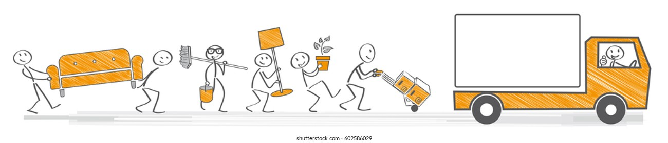Team carrying boxes and furniture into a moving van