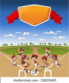Team of cartoon children wearing uniform playing baseball on green field