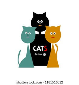 A team of cats. Players. For your design. Vector.