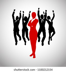 A team of cheering enthusiastic jumping executives in silhouettes led by a successful Female leader in red who stands in front of them.