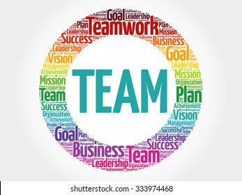 TEAM circle stamp word cloud, business concept