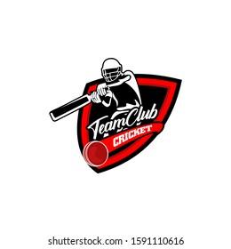 Team Club Cricket Badge Shield Logo Template Vector