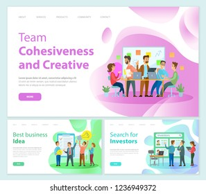 Team cohesiveness and creativity of workers vector. Teamwork successful decisions and solution, search for investors, business ideas of businessmen