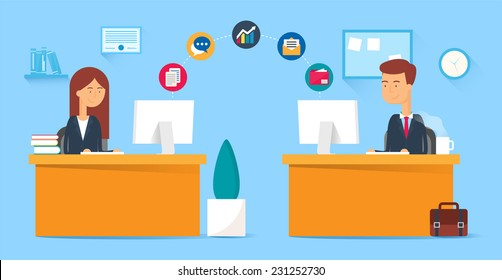 Team collaboration, business concept. Vector illustration, flat style
