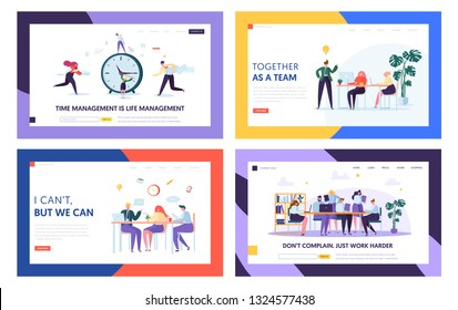 Team Collaboration Start Project Landing Page Set. People Sign Work Contract. Successful Agreement of Business Cooperation Concept for Website or Web Page Flat Cartoon Vector Illustration
