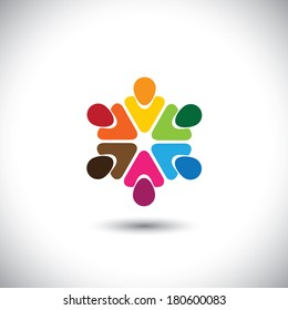 team of colorful people as circle - concept vector of teamwork. This graphic also represents internet community, team work and team building, social media, employees meetings, office staff, etc