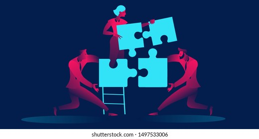 Team concept, people connecting puzzle elements in red and blue neon gradients. Symbol of teamwork, cooperation, partnership
