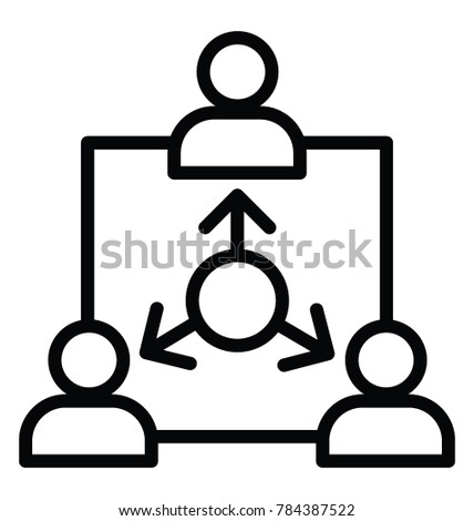 team coordination project administration line icon stock vector