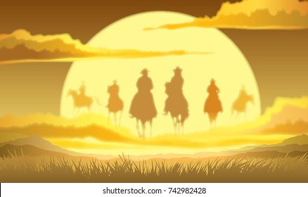 Team of cowboys silhouette galloping in the sky against a sunset background
