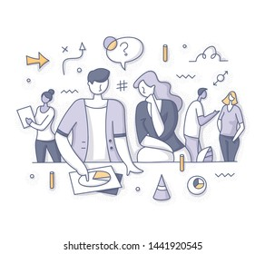 Team discussing, brainstorming new strategy on how to achieve the best results in business. Teamwork and startup planning vector doodle spot concept for website, applications or printed materials