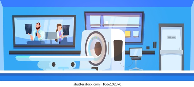 Team Of Doctors Examine Results Of Mri Scanning Over Machine Scanner Background