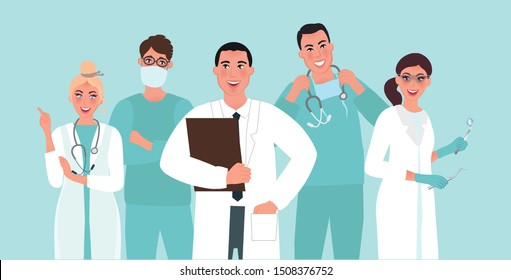 Team of doctors with the head doctor. Surgeon and anesthesiologist. Medical specialties. Vector illustration of medical professions