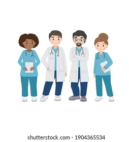 Team of doctors and nurses prepared to work, professional hospital workers,set of vector characters in flat style