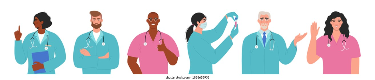 Team of doctors and nurses. Professional healthcare workers set. International group of male and female doctor characters. Medical staff. Flat vector illustration isolated on white background