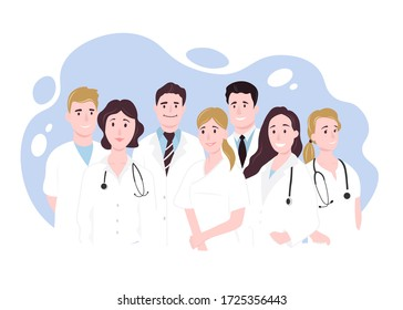 Team doctors on a white background. Happy People. Vector illustration in flat style
