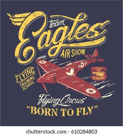 Team Eagles air show, artwork for boy t shirt, grunge effect in separate layer