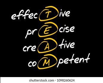 TEAM - Effective, Precise, Creative, Competent, acronym business concept