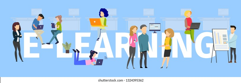 Team Elearning Typography Banner Illustration. People provide Knowledge Transfer, Female Control Study Process. Company provide Employee Project Online Education. Flat Vector Cartoon Illustration