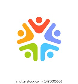 Team five people logo. Concept of group of people meeting collaboration and great work