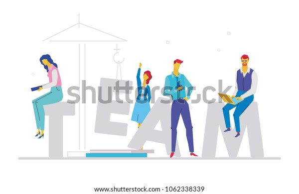 Team - flat design style colorful illustration on white background with creative headline, grey letters. A composition with cute characters, office workers or businessmen working at computers