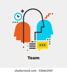 Team Flat Icon. Material Design Illustration Concept. Modern Colorful Web Design Graphics. Premium Quality. Pixel Perfect. Bold LineColor Art. Unusual Artwork Isolated on White.