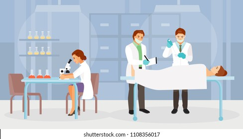 The team of forensic experts working in the morgue. Vector illustration