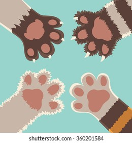 Team friendship. Cats foots, cartoon flat style vector illustration set.
