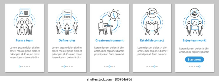 Team gathering onboarding mobile app page screen with linear concepts. Teamwork, coworking graphic instructions. UX, UI, GUI vector template with illustrations