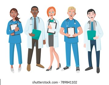 Team of Good Doctors on a White Background. Vector Illustration in Flat Cartoon Style