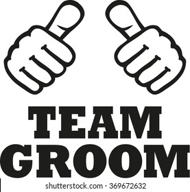 Team groom with two thumbs