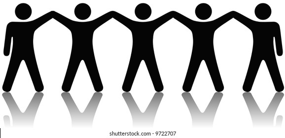 A team or group of five people with hands raised celebrate cooperation, teamwork, victory, winning, etc.