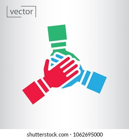 team hands together, business partnership concept, line icon vector