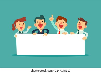 Team of happy business people holding blank board. Business presentation or announcement