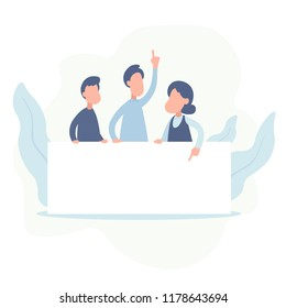 Team of happy business people holding blank board. Business presentation or announcement. vector illestration