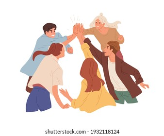 Team of happy colleagues giving high five, celebrating achievement, victory and success. Concept of unity, partnership and togetherness. Colored flat vector illustration isolated on white background