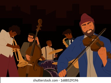 Team of hipster male jazz band playing at musical instrument isolated on black background. People play on saxophone, violin, drum and double bass at music festival. Performance of orchestra