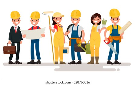 Team home builders. Engineer and foreman are discuss the building project. Painter electrician, landscaper and carpenter. Vector illustration in  flat style